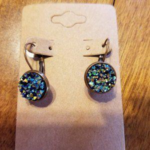 Rainbow Druzy Drop earrings - 12MM